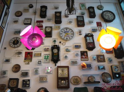 Collection of retro clocks on a full wall~
