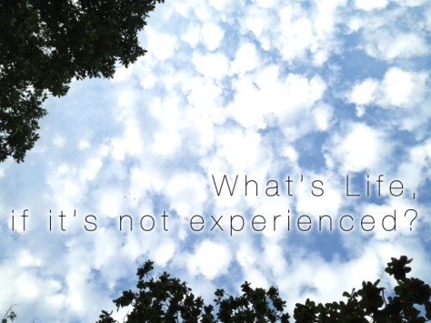 What's life, if it's not experienced?