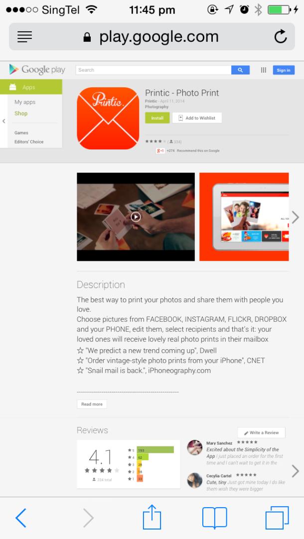 Printic App Andriod Blog Review1