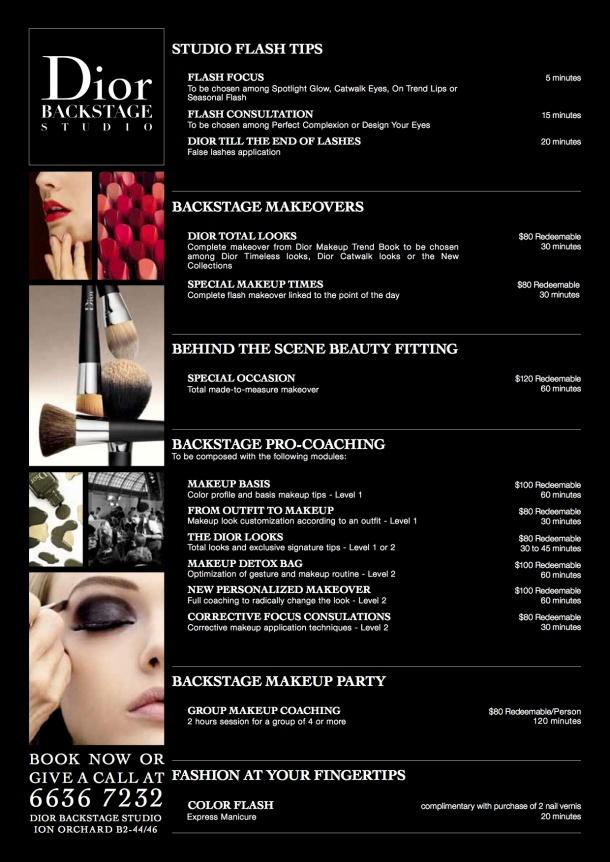 Dior Backstage Studio at ION Menu of Services
